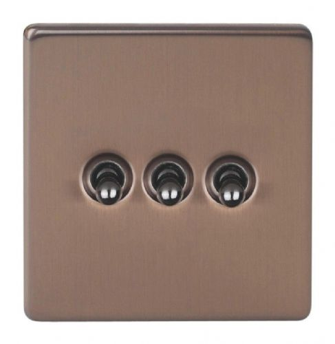 Varilight XDYT3S.BZ Screwless Brushed Bronze 3 Gang 10A 1 or 2 Way Toggle Light Switch